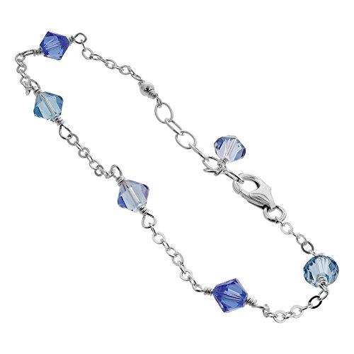Gem Avenue Sterling Silver Swarovski Elements Blue Bicone Crystal Ankle Bracelet 10 to 11 inch (Gem Avenue Anklet)