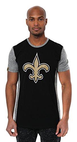 Icer Brands NFL New Orleans Saints Men's T-Shirt Raglan Block Short Sleeve Tee Shirt, Medium, Black