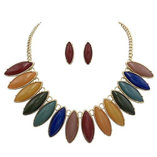 (Unique Fan Flair Statement Gold Tone Boutique Chunky Bib Bubble Necklace Earrings Set (Multi Color Jewel Tones))