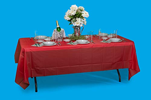Exquisite 12-Pack Premium Plastic Tablecloth 54 Inch. x 108 Inch. Rectangle Table Cover-White - Premium quality protection: This 12 pack of 54 in. X 108 in. Rectangle White plastic tablecloths will cover any table up to 8 feet. Unlike your typical paper Table clothes these disposable table covers for parties are spill and waterproof! ! ! High opacity: covers any Table with minimal transparency. Great plastic Tablecloth For parties, weddings, holiday party, birthday parties, Christmas, thanksgiving dinner, BBQ, and any other color themed event. Disposable: disposable works! When the party is over, cleanup is easy - just Roll up the disposable tablecloth and dispose of it. - tablecloths, kitchen-dining-room-table-linens, kitchen-dining-room - 41e7KV%2BaGqL -
