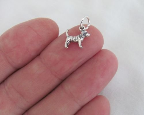 (Small Sterling Silver Beagle Dog Miniature Charm. - Jewelry Accessories Key Chain Bracelet Necklace)