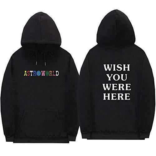 Detroital Unisex Astroworld Hoodie Hip Hop Pullover Sweatshirt Graphic Top (XL, Black)