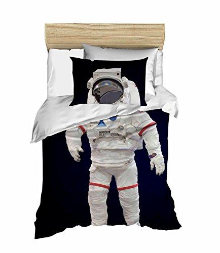 Explorer 100% Cotton (Space Astronaut themed Children's Duvet Cover Set, Spacecraft Explorer Single/Twin Bedding for Boys, 100% Cotton, Blue, (3 PCS))
