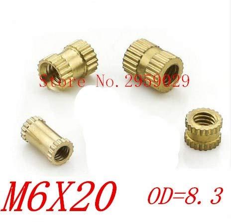 Nuts 100pcs M6 x 20mm x OD 8.3mm M620 Injection Molding Brass Knurled Thread Inserts Nuts