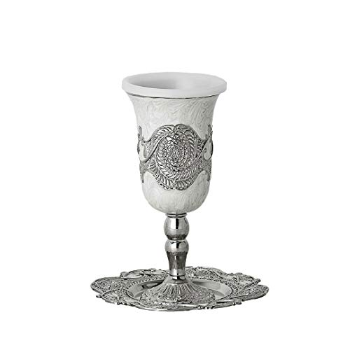 Silver Plated Kiddush Cup with Plastic insert & Tray 6
