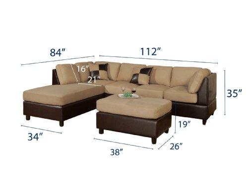 Bobkona Hungtinton Microfiber/Faux Leather 3-Piece Sectional Sofa Set, Hazelnut