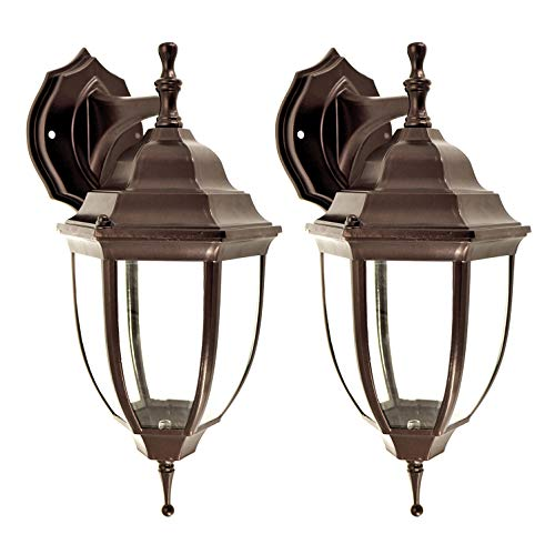OSTWIN 1-Light Outdoor Exterior Wall Down Lantern, Traditional Porch Patio Lighting Fixture L04 with One E26 Base, Water-Proof, Bronze Cast Aluminum Housing, Clear Glass Panels, (2 Pack) ETL Listed Cast Aluminum One Light