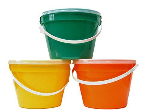 (Plastic Buckets & Lids, Gallon, 3 Pack, Orange Green & Yellow )
