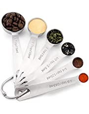 Measuring Spoons, Premium Heavy Duty 18/8 Stainless Steel Measuring Spoons Cups Set, Small Tablespoon with Metric and US Measurements, Set of 6 /8/10 for Gift Measuring Dry and Liquid Ingredients (6PCS)