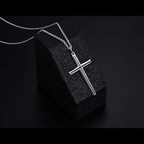 """Flyow 925 Sterling Silver Classic Cross Pendant Jewelry Necklace for Men, Silver Chain 24"""""""
