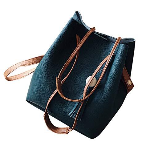 SAYEI Woman Trendy Tassels Bucket Bags Ladies Card Bag Handbag Four Sets Magnet PU Leather Shoulder Bags -