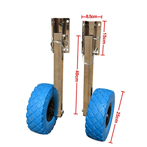 Stainless Steel Boat Transom Launching Wheel Dolly for Inflatable Boat ()