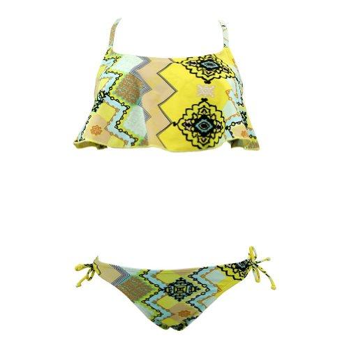 Marina West Women's Two Piece Flutter Shelf Bra Top & Bikini Bottom Bathing Suit Size - X-Large,Color - Pucci-Yellow