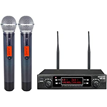 innopow 80-Channel Dual UHF Wireless Microphone System,Metal Cordless Mic Set, Long Distance 200-240Ft,16 Hours Continuous Use for Family Party,Church, Karaoke Night (WM-333)