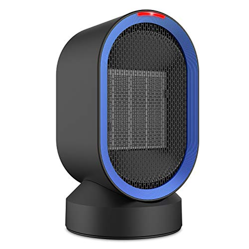 Fitfirst Ceramic Space Heater, ETL Listed Portable Mini Desktop Heater Indoor Use, 2s Quick Heat-up, Ultra Quite, Auto-Oscillation for Office Table Home Dorm 600W