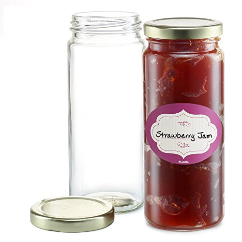 16 oz Empty Glass Jars Pack of 12 - Wide Mouth, Round Jar wi