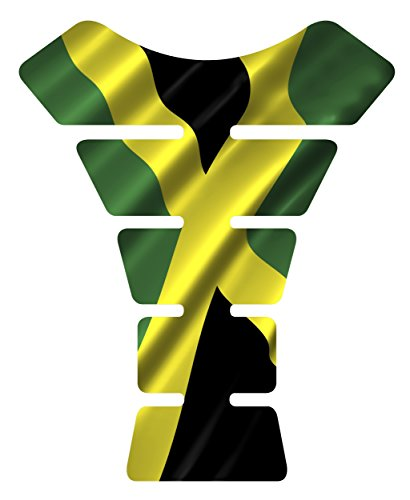Motorcycle Jamaican waving jamaica flag sportbike gel tank pad protector tankpad guard sticker ()