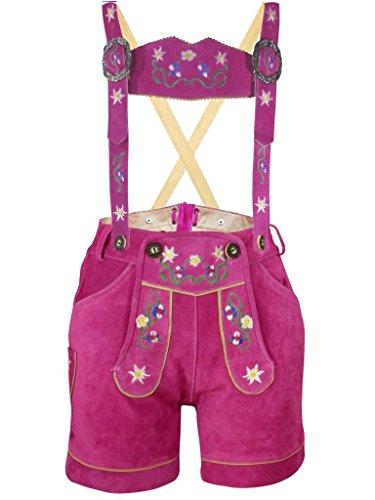PAULGOS Damen Trachten Lederhose --- Echtes Leder --- Pink Kurz M1, Größe:44