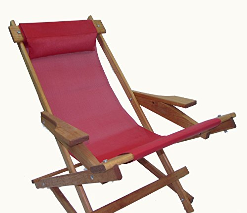 Cheap Wooden Folding Rocking Chair with All Weather Sling (Red)