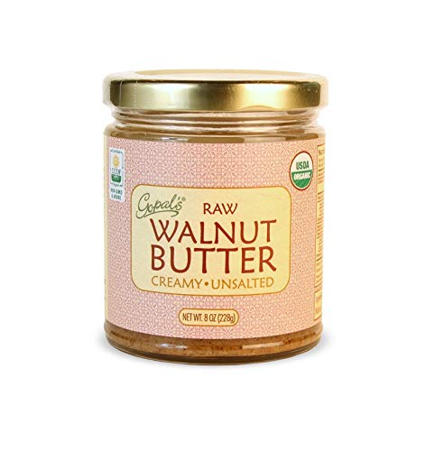 Gopal's Raw Organic Walnut Butter | USDA Organic, Gluten-Free, Creamy and Unsalted | 8 Ounces Glass Jar | Keto, Whole 30, and Paleo Friendly (Organic Nut Butter)