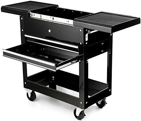 Goplus Rolling Tool Cart, Steel Sliding Drawer Tool Organizer, Black