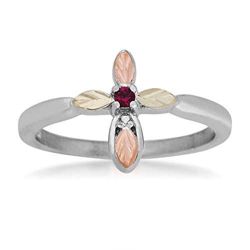 (Created Ruby Cross Ring, Sterling Silver, 12k Green and Rose Gold Black Hills Gold Motif, Size)
