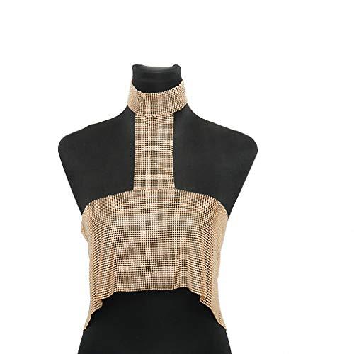 Chain Halter Necklace - Geetobby Sexy Lingerie Body Chain Bra Bikini Waist Halter Backless Sequins Chain Bra Beach Necklace for Women