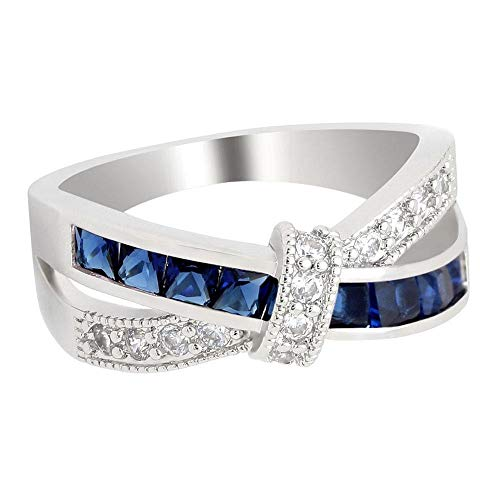 Colon Cancer Awareness Ribbon Gorgeous Inspirational White & Blue Cubic Zirconium White Gold Ring Sz 5-11 (8)