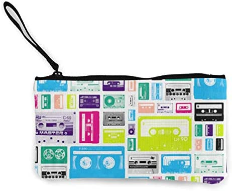 Estuche de lápices de Viaje con Monedero de música de Cassette con Mango Estuche de lápices de Lona en Efectivo 4.7