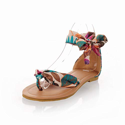Mome OpenToed Sandals Women#039s Bohemia Style LaceUp Flats Shoes Bandage Retro Rome Sandals US59