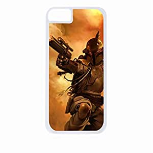 linJUN FENGBoba Fett art - Hard White Plastic Snap - On Case-Apple Iphone 5 - 5s - Great Quality!