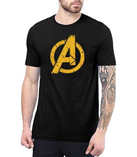 Mens Black Infinity Apparel Superhero Tshirt Gifts | Infinity A Logo, M