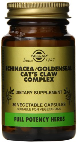 - Solgar Full Potency Echinacea/Goldenseal/Cat's Claw Complex Vegetable Capsules, 30 Count