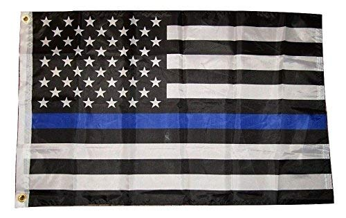 Premium Quality Polyester - 2x3 USA American Police Blue Line Memorial Flag 2'x3' Banner Brass Grommets House Banner Brass Grommets Fade Resistant Double Stitched Premium Quality Polyester Nylon