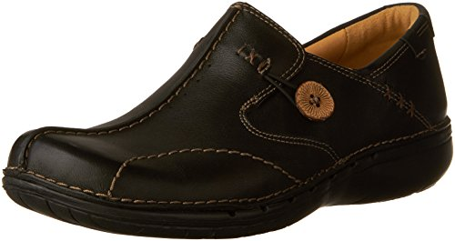 CLARKS Women's Un.Loop, Black Leather, 8.5 M US