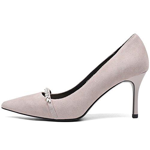 SSBY Scharfe Gut Bei Fuß 7.5Cm Hochhackigen Schuhe Neuer Stil Damenschuhe Starken Kopf Schleifen Flachen Mund Vier Jahreszeiten Thirty-five