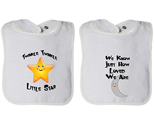 Twinkle Little Star We Know How Loved Are Infant Contrast Trim Terry Bib White