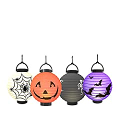 Package includes: 1 x White spider paper lantern 1 x Purple bats paper lantern 1 x Black skeletons paper lantern 1 x Orange Jack-O paper lantern Each lantern is made of high-quality paper and comes with a frame. It is very easy to assemble. S...
