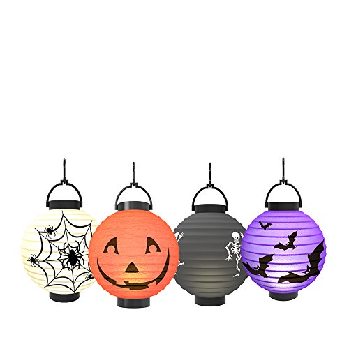 Halloween Pumpkin Lantern - Jack o Lantern [4 Pack]LED Pumpkin Spider Bat Skeleton Light - Halloween Indoor Outdoor Holiday Party Decor Paper Lantern