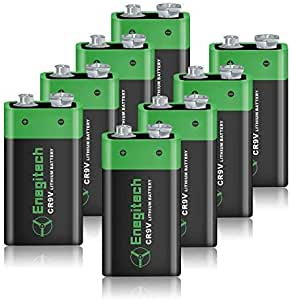 9V Lithium Battery 600mAh, Enegitech Non-Rechargeable Li-ion Battery for Smoke Detector Fire Alarm Infrared Thermometer Microphone, 8-Pack