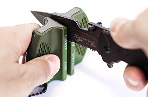 Pocket Knife Sharpener: Tungsten Carbide and Ceramic – For Camping and Outdoors Sharpening (OD GREEN)