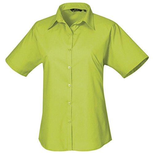 Jaune Chemisier vert femme pour uni manches chemise Femmes Citron Coloris courtes en popeline vdnwxfH4