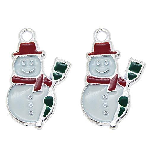 50pcs Alloy Metal Enamel Snowman with Broom Charm Pendants for Christmas Holiday Season