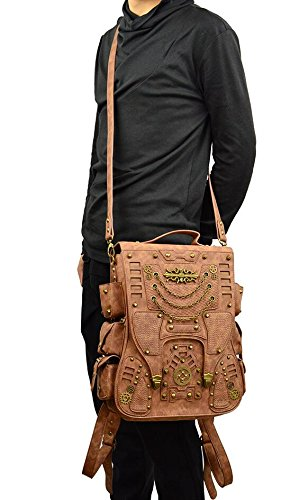 Jackdaine Men's Ladies Fashion Steampunk Outdoor Travel Backpack Backpack 5