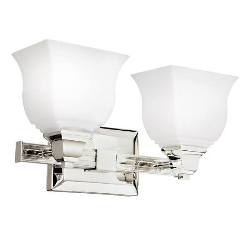 Kichler  10659PN 2 Light Square Curves Fluorescent Bath Light, Polished Nickel