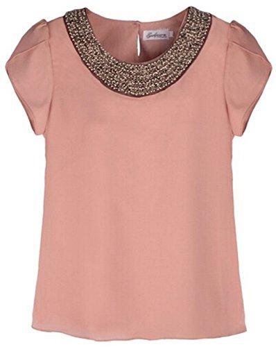 ANDI ROSE Women Casual Short Sleeve Slim Batwin Chiffon T-shirts Elegant Tops Blouse (0-6, Pink)