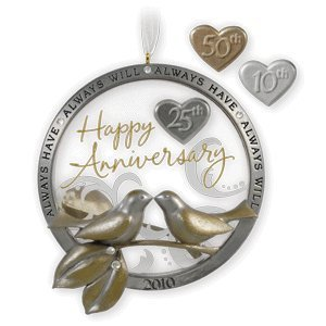 1 X Anniversary Celebration 2010 Hallmark Ornament (50th Ornament Anniversary)