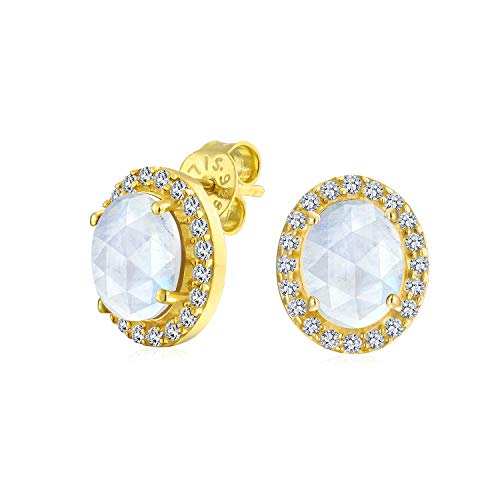 2.2CT Pave CZ Halo Gemstone White Moonstone Oval Stud Earrings For Women 14K Gold Plated Sterling Silver ()
