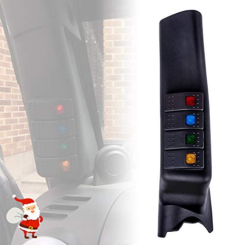 Liteway Black A-Pillar Switch Left Hand Pod Panel 4 LED Rocker Switch for Jeep Wrangler JK 11-16 (left-hand-drive model), 2 Years Warranty -
