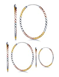 Infinite U Women's Elegant 925 Sterling Silver 30-50mm Hoops Polished Round Sleeper Earrings (1/3 Pairs), Silber Gold